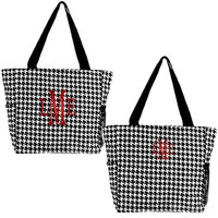 "Monogrammed  ""The Perfect"" Large Canvas Tote - Black & White Houndstooth - FREE SHIP"