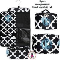 Monogrammed 3 Piece Travel Essentials Set - Bristol Tile  - Black/White - FREE SHIPPING