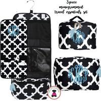 Monogrammed 3 Piece Travel Essentials Set - Bristol Tile  - Black/White - FREE SHIPPING