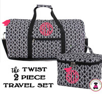 Monogrammed 2 Piece Travel Set - Twist in Black / White  - FREE SHIP