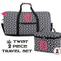 Monogrammed 2 Piece Travel Set - Twist in Black / White  - FREE SHIP