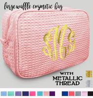 Metallic Monogrammed  Deluxe 2 Compartment Large Waffle Cosmetic Case - FREE SHIP