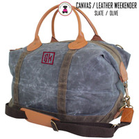 FOR HIM -Monogrammed WEEKENDER - Waxed Canvas Deluxe Weekender - Slate - FREE SHIP