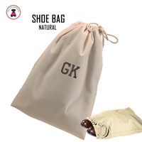 FOR HIM - Monogrammed Shoe Bag for Travel  - Natural - FREE SHIP