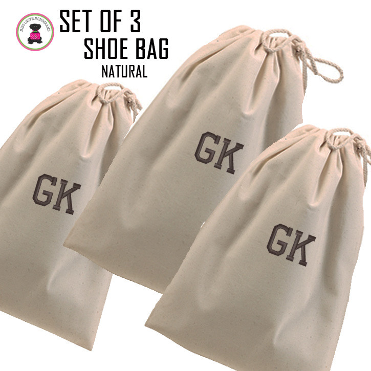 f3ac0490adb1 FOR HIM - Monogrammed Set of 3 Shoe Bags for Travel - Natural - FREE ...