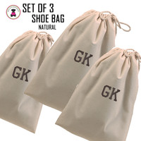 FOR HIM - Monogrammed Set of 3 Shoe Bags for Travel  - Natural - FREE SHIP Men's Travel /Men's Shoe Bag/Groomsmen Gift /Father's Day Gift/Grad Gift