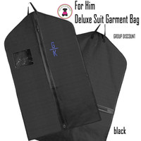 FOR HIM Monogrammed Hanging Garment Bag for Dress/ Suit  - Black - FREE SHIP-Men's Travel /Men's Shoe Bag/Groomsmen Gift /Father's Day Gift/Grad Gift/Group Discount