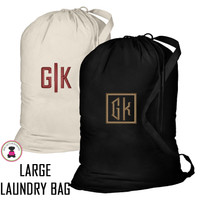 FOR HIM Monogrammed Large Cotton Drawstring Laundry Bag - FREE SHIP-Groomsmen Gift/Father's Day Gift/Grad Gift/Gift for Him/Group Discount