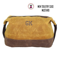 FOR HIM Monogrammed Large Waxed Canvas Toiletry Case - Mustard Yellow  - FREE SHIP