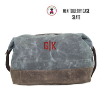 FOR HIM Monogrammed Large Waxed Canvas Toiletry Case - Slate  - FREE SHIP