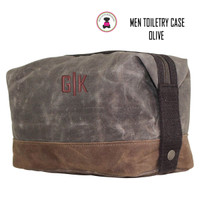 FOR HIM Monogrammed Large Waxed Canvas Toiletry Case - Olive - FREE SHIP