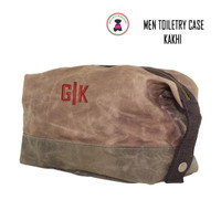 FOR HIM Monogrammed Large Waxed Canvas Toiletry Case -Kakhi - FREE SHIP