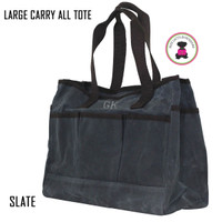 FOR HIM Monogrammed Large Waxed Canvas Deluxe Carry All Tote - Slate - FREE SHIP