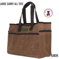 FOR HIM Monogrammed Large Waxed Canvas Deluxe Carry All Tote - Kakhi - FREE SHIP
