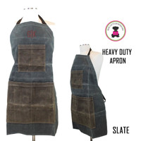 FOR HIM Monogrammed  Waxed Canvas Heavy Duty Apron - Slate - FREE SHIP