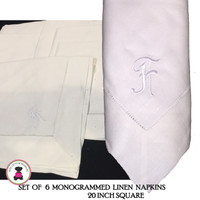 "Set of 6 - Monogrammed White Linen Dinner Napkins - 20"" Square  - FREE SHIP"