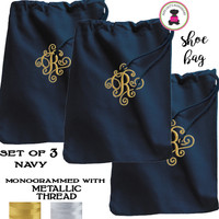 METALLIC THREAD Monogrammed Set of 3 Shoe Bags for Travel  - Navy - FREE SHIP