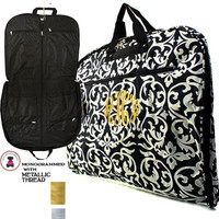 METALLIC THREAD Monogrammed Canvas Garment Bag - Black/White Damask - FREE SHIP