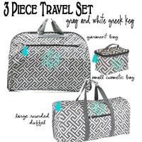 Monogrammed 3 Piece Travel Set - Greek Key - Gray / White- FREE SHIP/ladies' Travel Set/Gift for Her/Bridesmaid Gift/Flower Girl Gift/Dancer Gift/Grad Gift