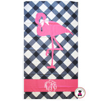 Monogrammed MISS FLAMINGO Beach Towel - FREE SHIP