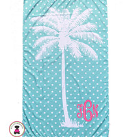 Monogrammed PALM TREE & POLKA DOTS  Beach Towel-Aqua / White - FREE SHIP