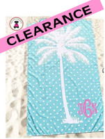 Monogrammed PALM TREE & POLKA DOTS  Deluxe Beach Towel-Aqua / White-FREE SHIP/Beach Towel / Microfiber Towel / Pool Towel / Bride Gift / Grad Gift / Gift for Her