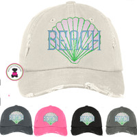 Distressed Finish SEASHELL  Baseball Hat  - FREE SHIP