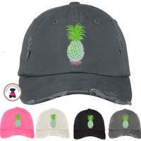 Distressed Finish PINEAPPLE Baseball Hat  - FREE SHIP