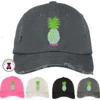 Distressed Finish PINEAPPLE Baseball Hat  - FREE SHIP