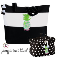 SUMMER PINEAPPLE  2 Piece Set - Large Tote & Cosmetic Bag - Black/White - FREE SHIP