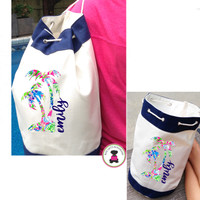 LILLY INSPIRED PALM TREE & NAME Drawstring Canvas Tote Bag- Navy / Natural - FREE SHIP