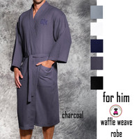 FOR HIM Monogrammed Waffle Weave Long Robe  - FREE SHIP