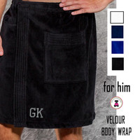 FOR HIM Monogrammed Deluxe Terry Velour Body Wrap  - FREE SHIP