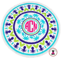 Monogrammed Large Round PALM TREES & PINEAPPLES  Beach Towel with Fringe Border - Free Ship