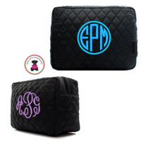 Monogrammed Large Cosmetic Case - Black Quilted  - FREE SHIP