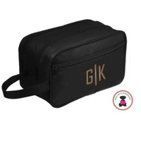 FOR HIM - Monogrammed Double Travel Kit  - Black - FREE SHIP-Men Travel/Mens Duffel/Groomsmen Gift/Father's Day Gift/Grad Gift /Boy Travel