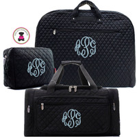 Monogrammed Quilted 3 Piece Deluxe Travel Set with Large Boxy Duffel  - Black - FREE SHIP