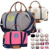 Monogrammed SOUTHAMPTON Large Canvas / Leather Trim Weekender - FREE SHIP