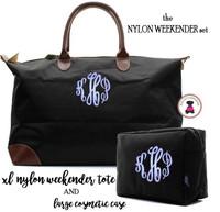 Monogrammed  Nylon Weekender 2 Piece Travel Set - Black - FREE SHIP