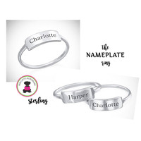 Monogrammed Sterling NAMEPLATE Ring - Sizes 4 - 14 - FREE SHIP