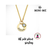 MINI ME Petite Necklace - 18k Gold Plated over Sterling Necklace with Inscription & Charm - Free Ship