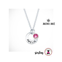 MINI ME Petite Necklace - Sterling Silver Necklace with Inscription & Charm - Free Ship