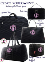 CREATE YOUR SET! Your Choice  Deluxe Quilted Monogrammed Travel Items - Black - FREE SHIP/Bride Gift/Grad Gift/ Travel Set/Gift for Her/Dance Bag/Cheer Gift