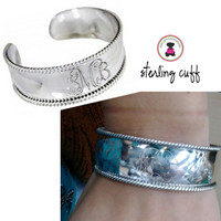 LAUREN Monogrammed Sterling Open Cuff  with Rope Detail - FREE SHIP