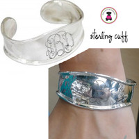 SEASIDE Monogrammed Sterling Open Cuff - FREE SHIP