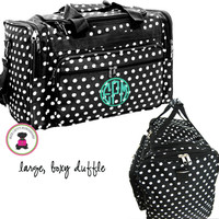Monogrammed Large Boxy Duffel - Black / White Polka Dot  - FREE SHIP