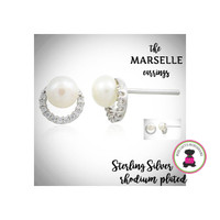 Marselle CZ / STERLING Post Earrings- Bridal / Special Event Jewelry with Group Pricing - Free Ship /Bride/Bridesmaid/Wedding Party Gift