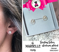 Marselle  Petite CZ / STERLING Post Earrings- Bridal / Special Event Jewelry with Group Pricing - Free Ship /Bride/Bridesmaid/Wedding Party Gift