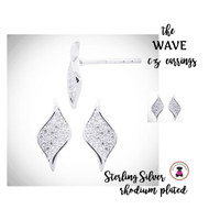 Wave  CZ / STERLING Post Earrings- Bridal / Special Event Jewelry with Group Pricing - Free Ship /Bride/Bridesmaid/Wedding Party Gift