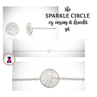 "Sparkle Circle CZ/STERLING SET-Post Earrings & 7"" Bracelet-Bridal/For Special Event-Group Pricing-Free Ship/Bride/Bridesmaid/Wedding Gift"